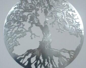 """60 cm (23.5"""") Tree Of Life, Brushed Steel Metal Art"""