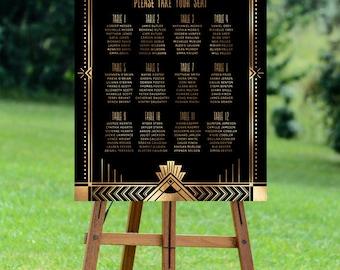 gatsby wedding seating chart, printable seating chart, art deco seating plan, wedding printable, printable seating chart, diy seating chart