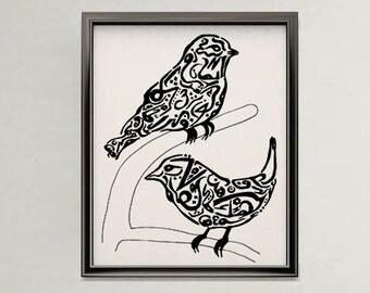 Bird Arabic Art Calligraphy Original Drawing