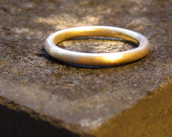 Simple wedding band, women's mens wedding ring, women's mens wedding band, 14k yellow gold 2mm wide, brushed matte finish, full round halo