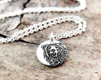 Tiny bear necklace, silver bear pendant, grizzly bear jewelry, brown bear, mama bear