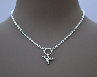KINGFISHER BIRD O RING silver plated chain necklace, Choose Size, Handmade