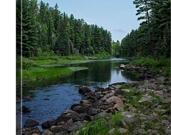 Large Canvas Art Living Room, Nature Canvas Print Art, Minnesota Print, Nature Prints Wall Art Large, Boundary Waters, River Rocks