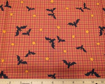 Fat Quarter (*pre-cut*) Halloween Fabric Black Bats and Gold Stars Allover on Orange & Black Plaid - VIP Cranston Print Works Co. 2004 - OOP