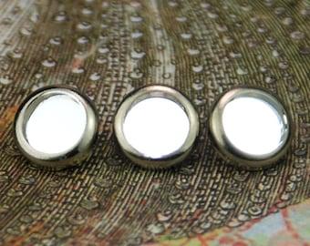 Miroir de 10 miroir cristal cheveux boutons pressions - ronde argent jante édition--en cristal Swarovski Element strass