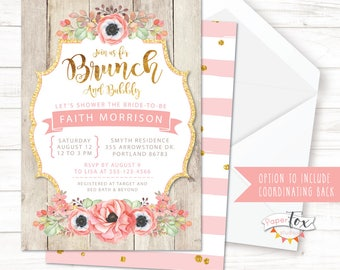 Brunch and Bubbly Bridal Shower Invitation, Bridal Brunch Invitation, Bridal Shower Brunch, Wedding Shower, Brunch and Bubbly, PRINTABLE