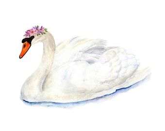 Swan Print, Watercolor Swan Art, Swan with Flower Crown, White Swan Print, Watercolour Bird, Art for Home, Art for Office, Girls Room Decor