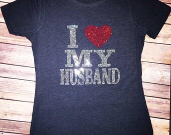 I Love My Husband Bling Rhinestone Tee