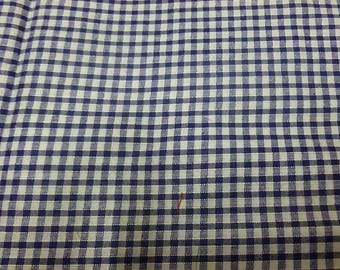 White and Navy blue cotton gingham fabric