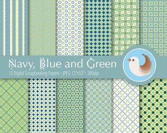 Navy, Blue and Green Digital Paper Set - Green Digital Paper - Blue Digital Paper - Set of 12 Digital Scrapbooking Papers