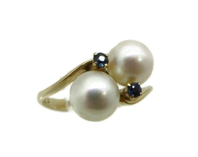 Vintage Pearl Ring, 14K Gold Ring, Pearl & Sapphire Ring, Solid Gold Ring, Cocktail Ring, Dinner Ring, Promise Ring, Romantic Gift for Her