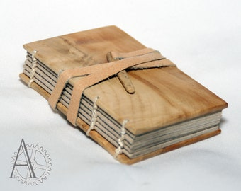 Mini journal with wooden covers. Recycled paper sketchbook. Handcrafted notebook. Unusual gift.
