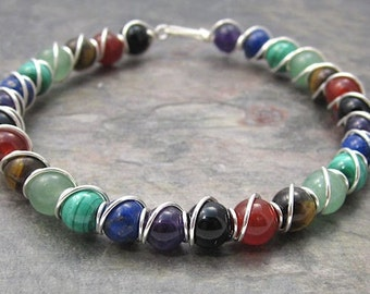 Chakra Beaded Sterling Silver Wire Wrapped Bracelet