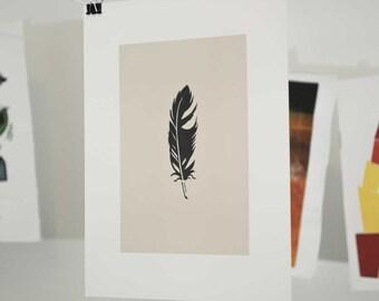 Feather Linocut Block Print