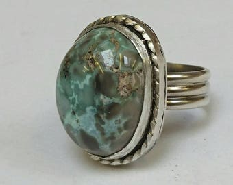 Sterling silver handmade red river turquoise ring, hallmarked in Edinburgh