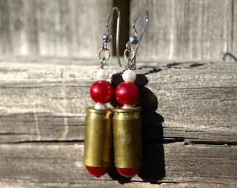 Valentine's day 9mm ammo bullet casing shell dangle earrings Dark red bead white bead