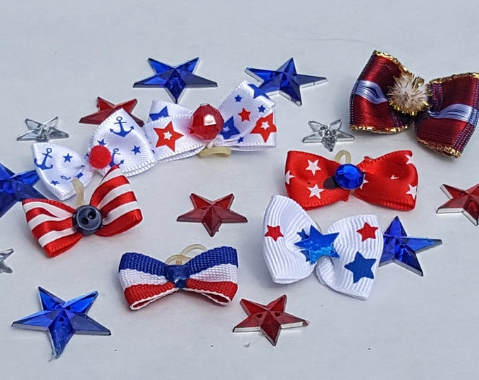 Small Patriotic Puppy Dog Bows - 7 unique top knot bows