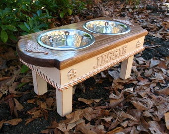 Personalized Cat or Dog Feeder, Jessie. Custom Cottage Shabby Chic, Medium Dog, Two - One Quart stainless  Bowls Made To Order