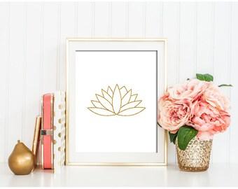 Gold Lotus Print, Lotus Art, Gold Lotus Wall Art, Gold Glitter, Gold wall decor, Gold decor, Lotus Printable, Lotus Flower Print,  Art Zen