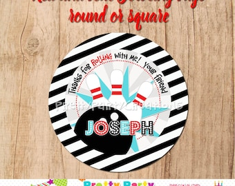 Red and Teal BOWLING favor tags - YOU Print