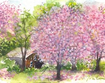 mini painting May 2017 no.8, original watercolor painting by Sumiyo Toribe