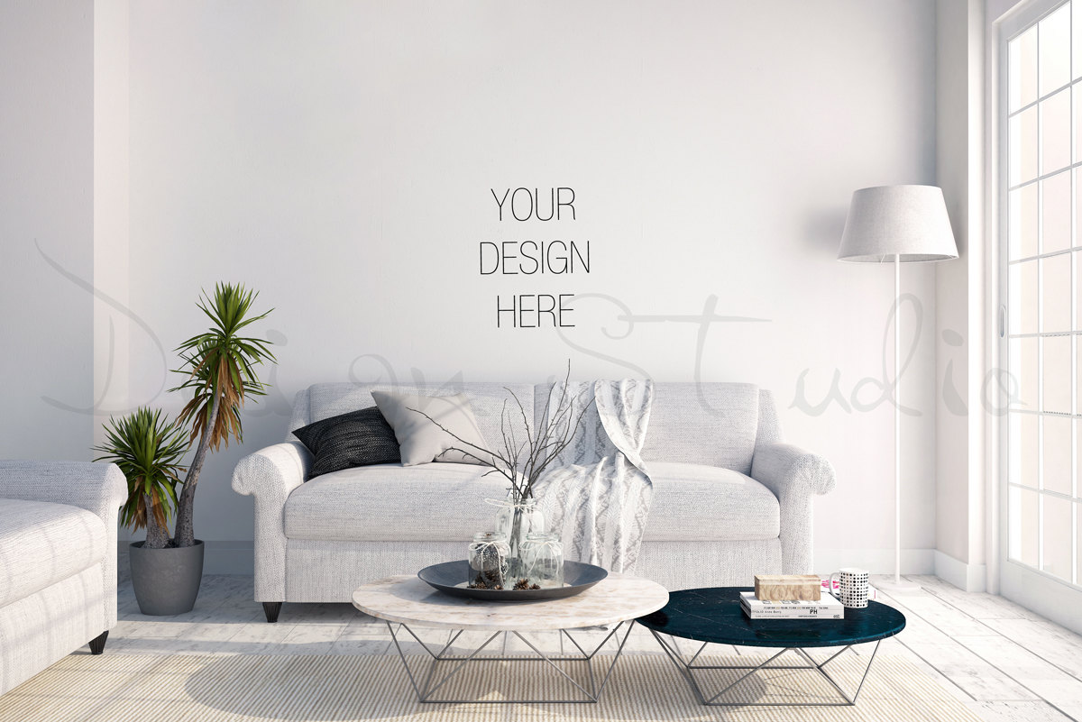 Styled Stock Photography Living Room Blank Wall