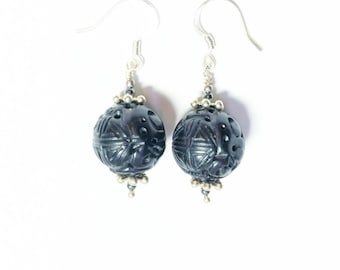 Carved jet ball dangle earrings