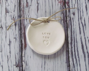 Love you Wedding ring bearer Ring dish Wedding Ring pillow His and Hers ring dish