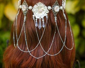 Pearl Flower half circlet crown