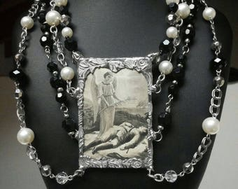 The Weeping Menagerie series. Memorial death funeral card mourning soldered pendant necklace.