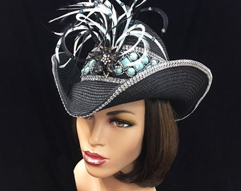 Black and aqua rhinestone Feather Cowgirl Hat