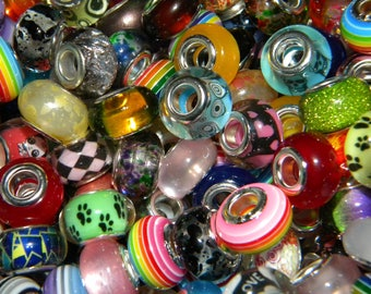 NEW 300/pcs MIXED lot of VERY Highly colorful European beads loose beads lot 14mm size
