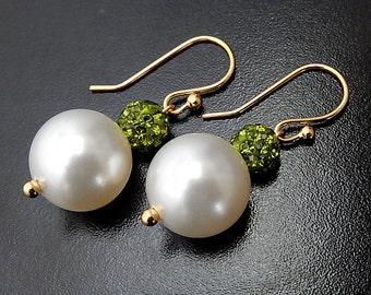 Pearl Earrings, Swarovski Crystal Bridal Earrings, Olive Green Pave Wedding Jewelry