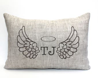 "remembrance pillow, remembrance gift, angel gift, angel pillow, bereavement gift, personalized, - ""Angel Wings"""