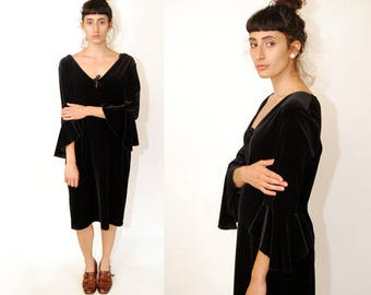BELL SLEEVE DRESS (12) vintage 80s velvet midi angelwing angel wing v-neck plunging black xl large bodycon bandage shift clubwear evening