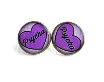 Purple Heart psycho Stud Earrings - 90s Soft Grunge Pastel Goth Rude Conversation Heart Jewelry - Bubblegum Nu Goth Lolita Studs