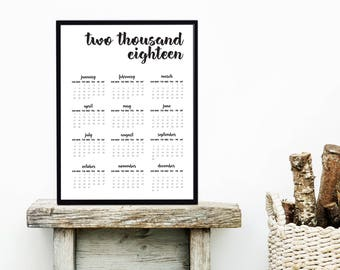 2018 Wall Calendar | 2018 Year Minimal Calendar| 50 x70 cm Calendar | Yearly Calendar | Large Printable Calendar