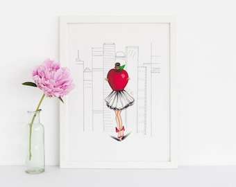 The Apple(Fashion Illustration Print) (Fashion Illustration Art - Fashion Sketch prints - Home Decor - Wall Decor )