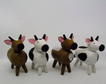 4 Wooden Cows - Wood Toys