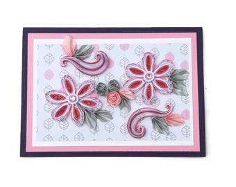 Free Shipping,Paper Quilling Floral Art Card,Paper Quilled Pink Rhinestone Flowers,Birthday,Mom, Wife,Thinking of You,Sympathy,Silver Leaves