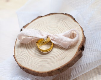 Wedding Ring holder - Wood and silk - READY TO SHIP!