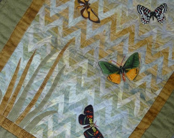 Beautiful Butterflies natural batik leaves Table Runner HANDMADE
