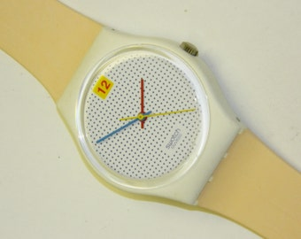 Swatch Dotted Swiss plastic swiss quartz vintage watch