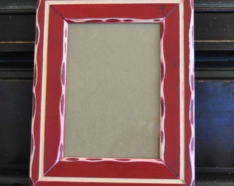 5x7 Distressed pine rustic picture frame with unique edge and inner routered line...red...HANDMADE