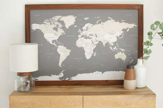 Push pin travel map world map world map wall art world map like this item gumiabroncs Image collections