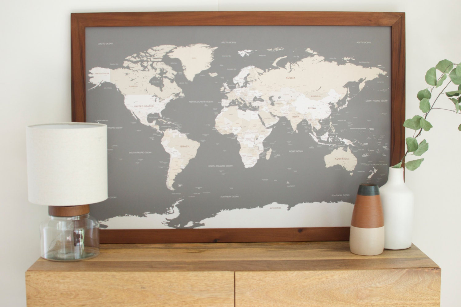 World political map earthtoned poster size and framed amazoncom push pin travel map world map world map wall art world map framed world map gumiabroncs Gallery