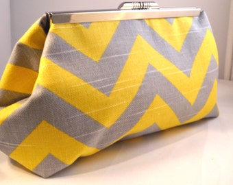 Grey and Yellow Chevron Clutch