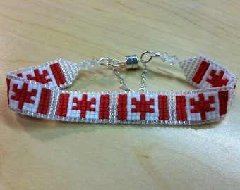 Canadian Flag Beaded Bracelet
