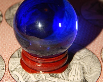 Genuine BLUE SMELT QUARTZ Sphere - Blue Quartz Orb - 40mm Gemstone Sphere - Metaphysical Crystals - Reiki - Meditation Stone - Scrying