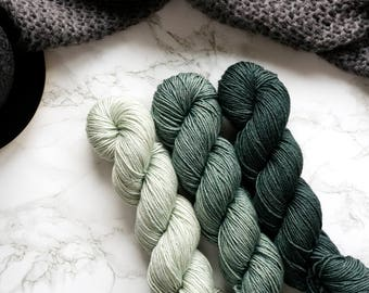 Gradient Yarn Set | Hand Dyed Yarn | Silk Merino Wool Yarn | Crochet | Knitting Yarn | Weaving | Handmade Knit | PREORDER - Evergreen